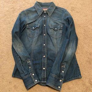 True religion denim button up shirt